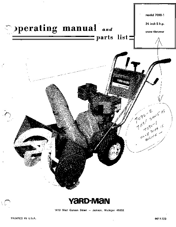 MTD Yard Man 7090 1 Snow Blower Owners Manual