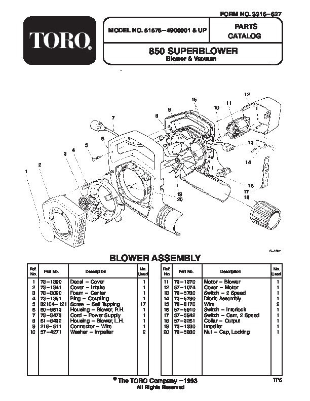 Toro 51575 850 Super Blower Manual, 1994-1995