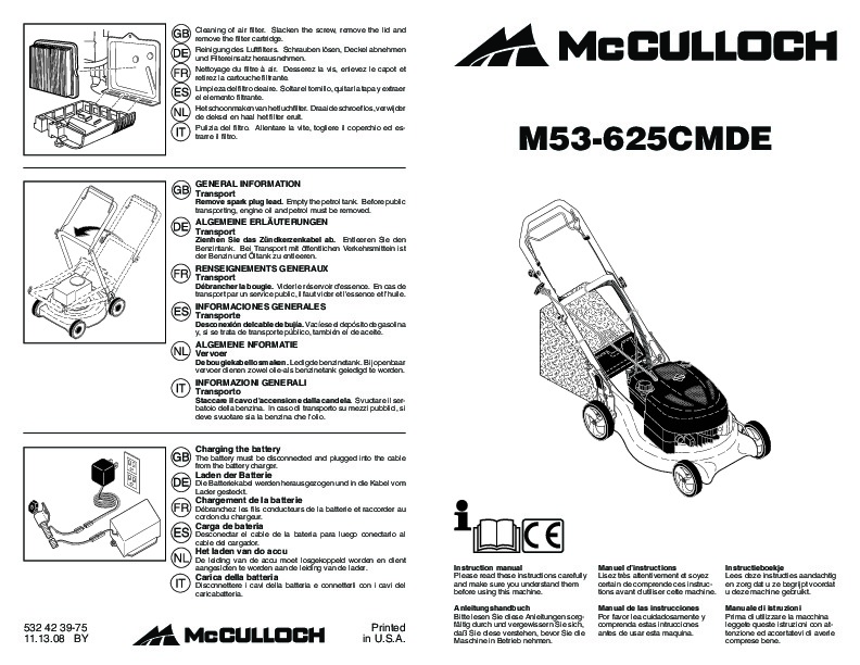 McCulloch M53 625 CMDE Lawn Mower Owners Manual, 2009