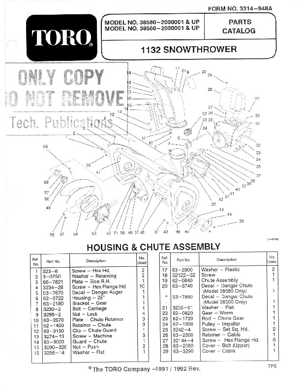 Toro 828 1132 Power Shift 38580 Snow Blower Owners and