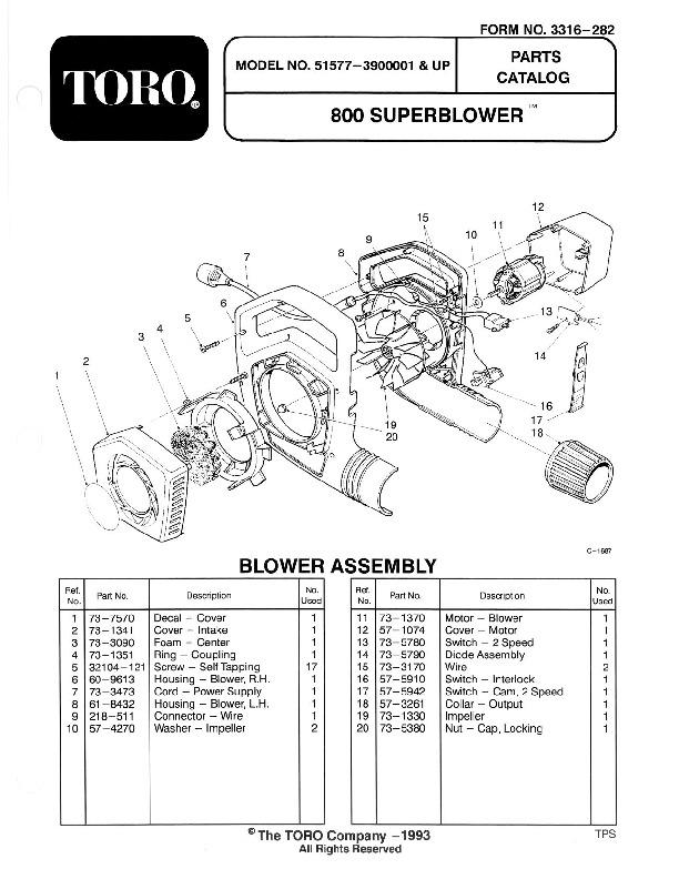 Toro 51577 850 Super Blower/Vac Manual, 1993