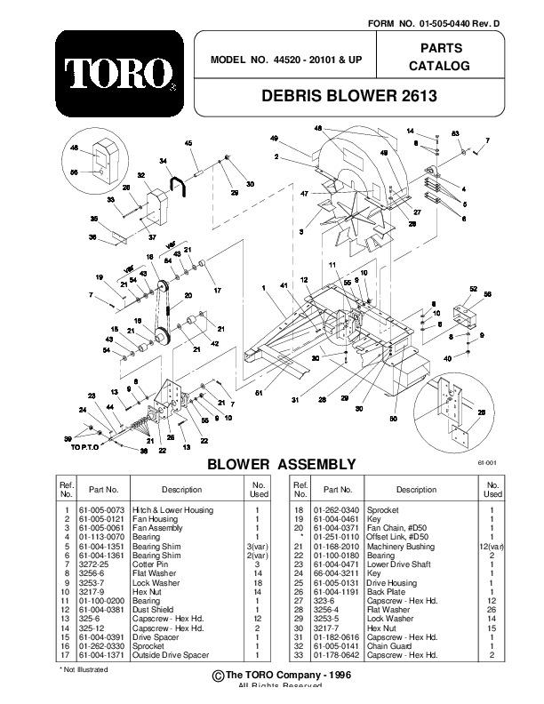 Toro 44520 Debris Blower 2613 Manual, 1999