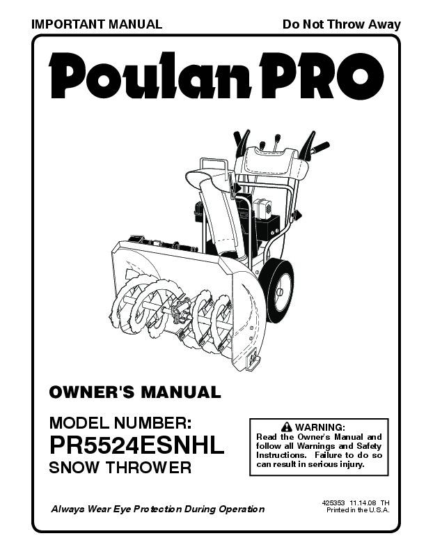 Poulan Pro PR5524ESNHL 425353 Snow Blower Owners Manual, 2008