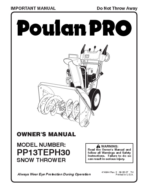 Poulan Pro PP13TEPH30 414944 Snow Blower Owners Manual, 2007