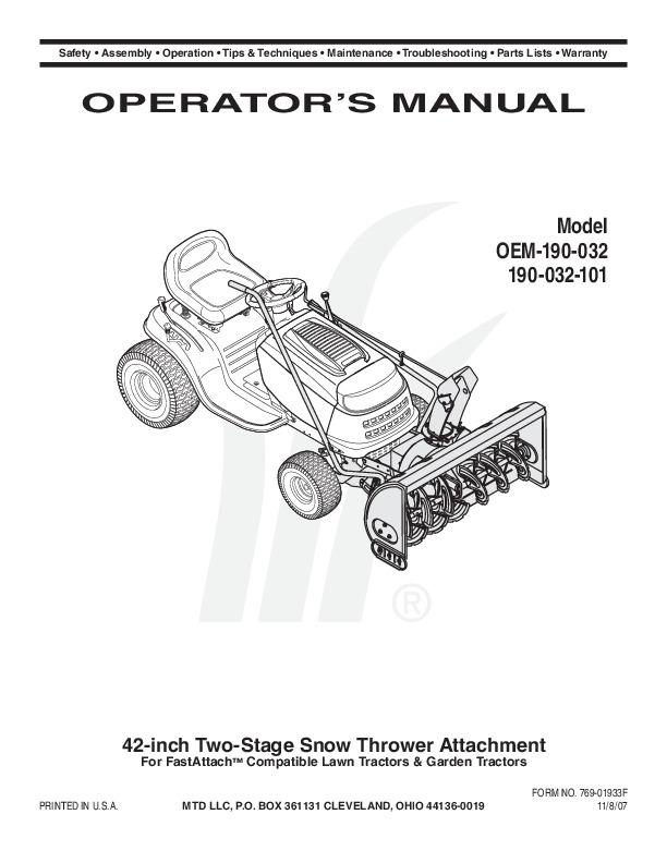 MTD OEM 190-032 190-032 101 Snow Blower Owners Manual