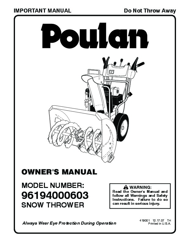 Poulan 96194000603 419001 Snow Blower Owners Manual, 2007