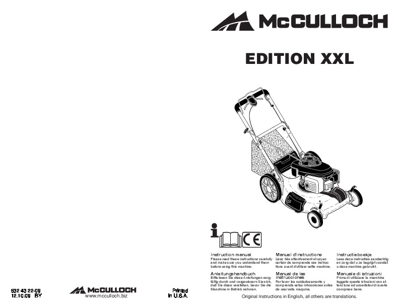 McCulloch EDITION XXL Lawn Mower Owners Manual, 2010