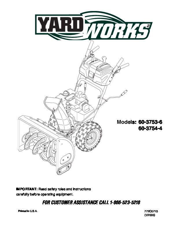 MTD Yardworks 603753-6 60 3754-4 Snow Blower Owners Manual