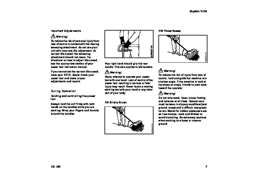 STIHL KB KW Sweeping Attachments Cultivator Owners Manual