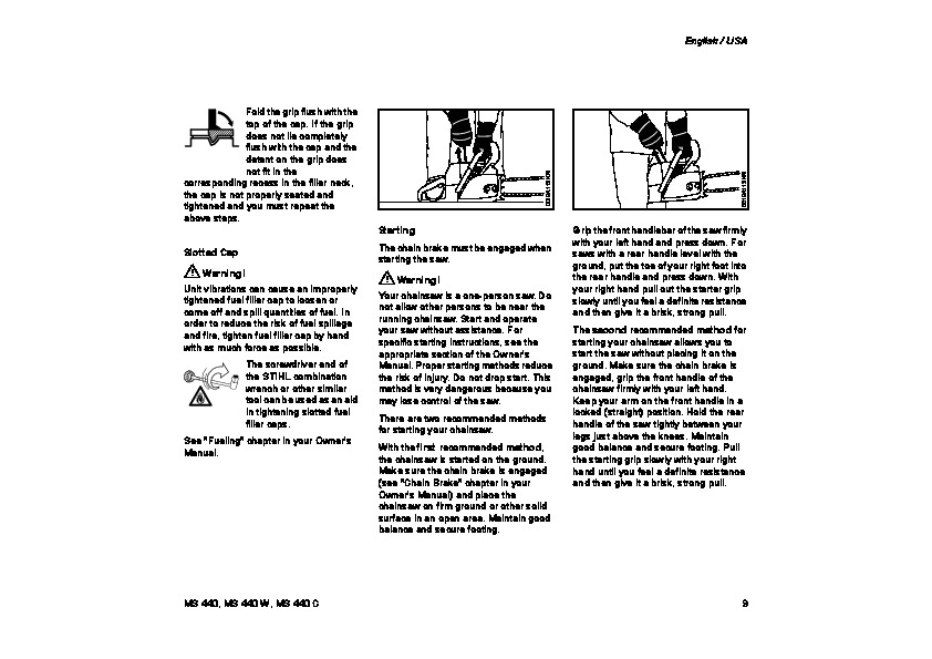 STIHL MS 440 Chainsaw Owners Manual