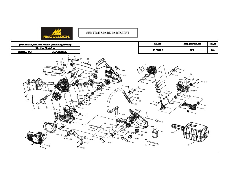 McCulloch MCC1635AK Chainsaw Service Parts List