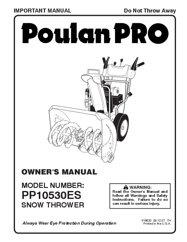 Poulan Pro PP10530ES 416833 Snow Blower Owners Manual, 2007
