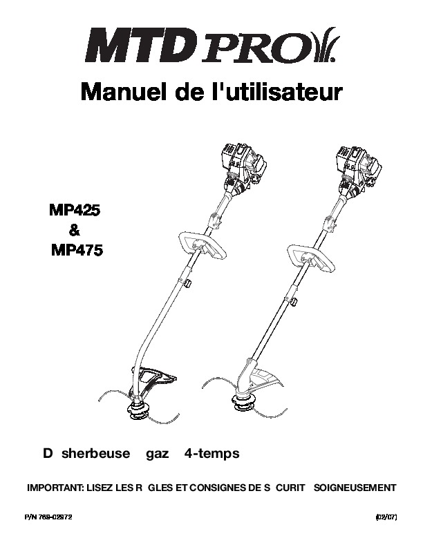 MTD Pro MP425 MP475 4 Cycle Trimmer Owners Owners Manual