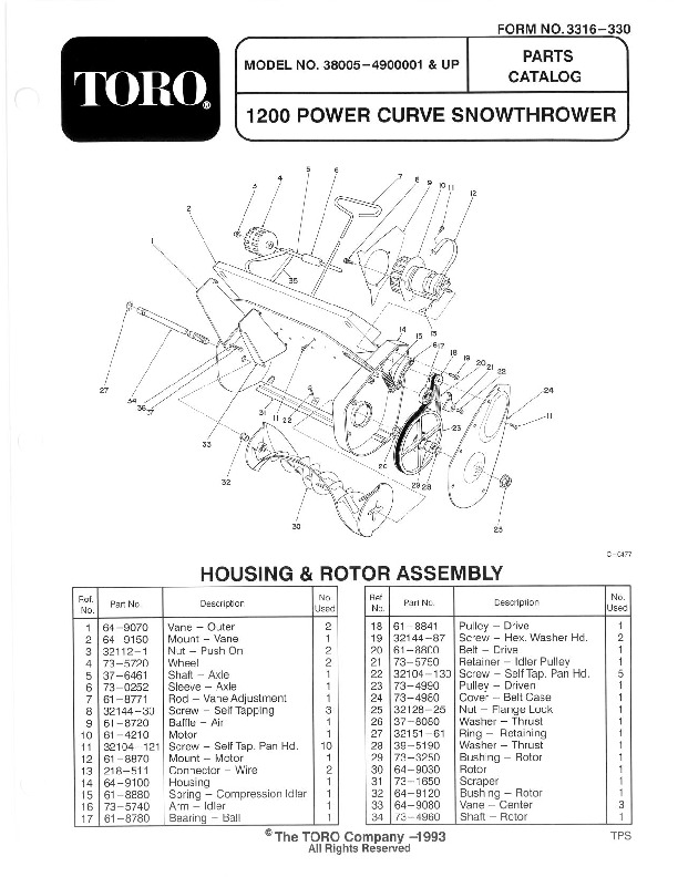 Toro 38005 1200 Power Curve Snowblower Manual, 1994