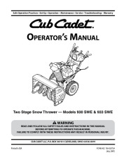 MTD Cub Cadet 930 SWE 933 SWE Snow Blower Owners Manual