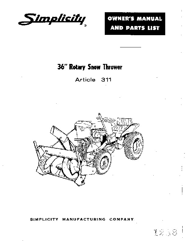 Simplicity 311 36-Inch-Snow Blower Owners Parts Manual