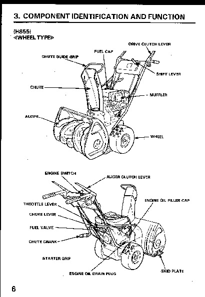 Honda HS55 HS70 Snow Blower Owners Manual