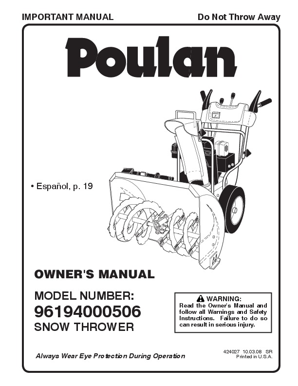Poulan 96194000506 424027 Snow Blower Owners Manual, 2008