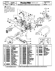 Poulan Pro 222 Chainsaw Parts List, 2008