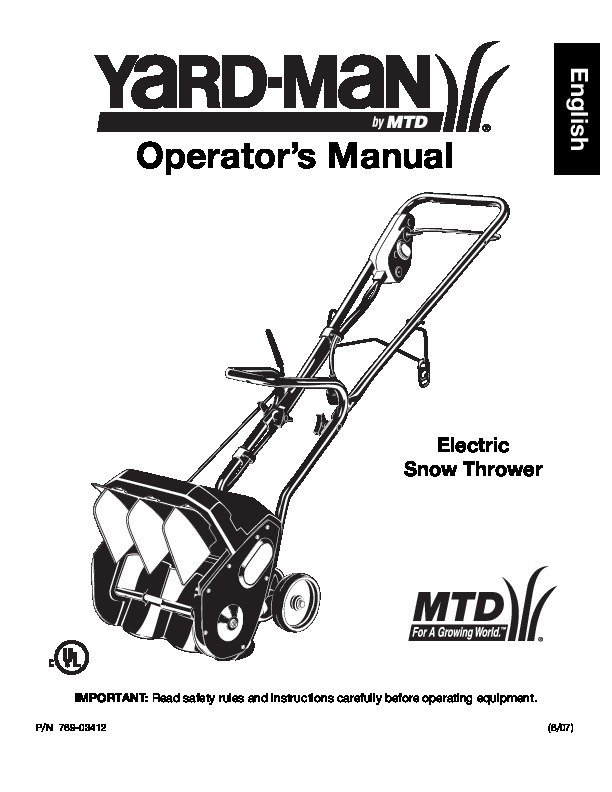 MTD Yard Man 769-03412 Electric Snow Blower Owners Manual