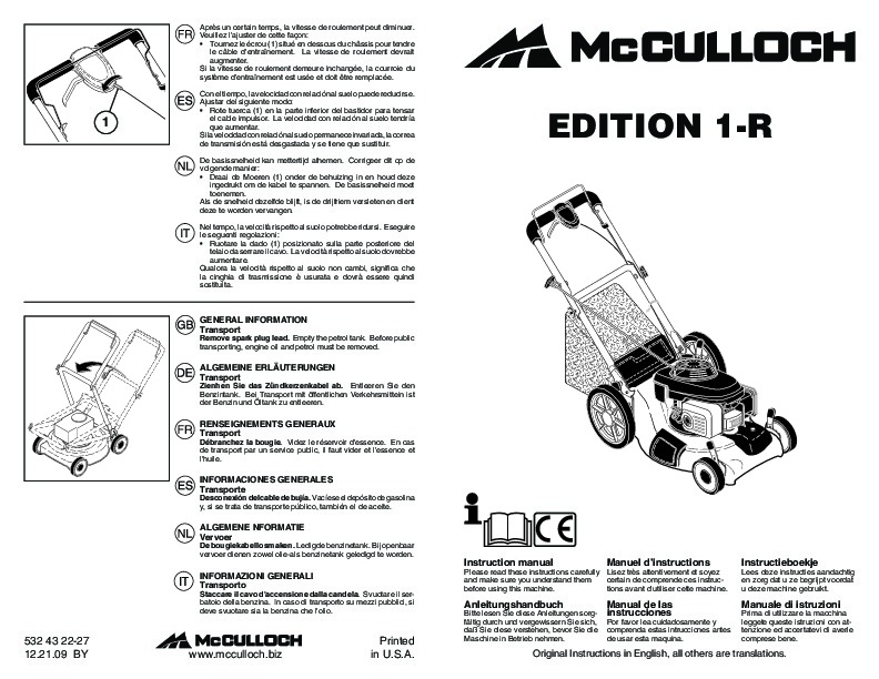 McCulloch EDITION 1 R Lawn Mower Owners Manual, 2010