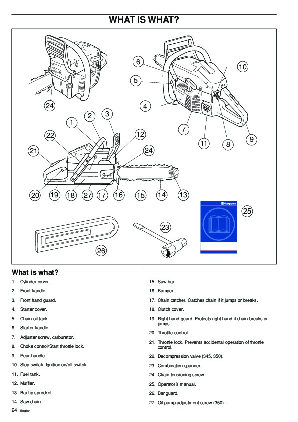 Husqvarna 340 345 350 Chainsaw Owners Owners Manual, 1995