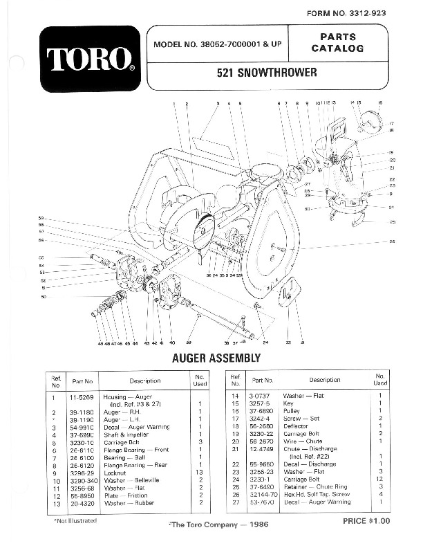 Toro 38052 521 Snowblower Manual, 1987