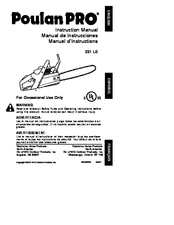 Poulan Pro 221 LE Chainsaw Owners Manual, 2001