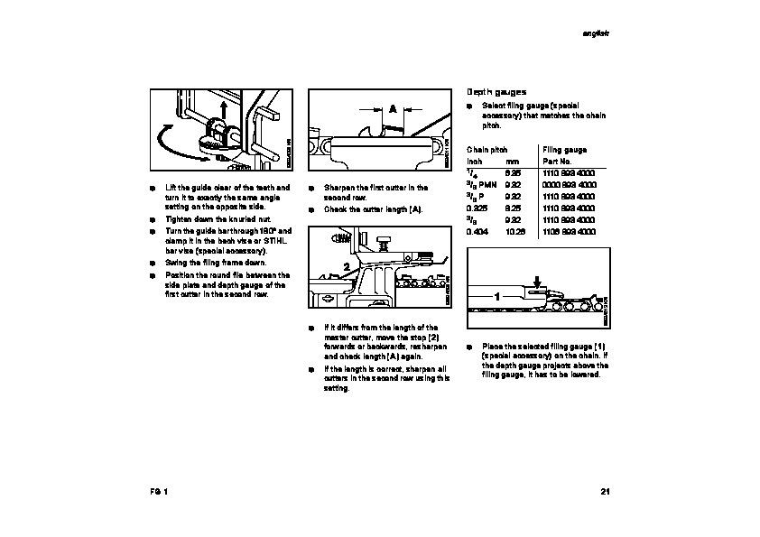 STIHL FG1 Chainsaw Filing Unit Owners Manual
