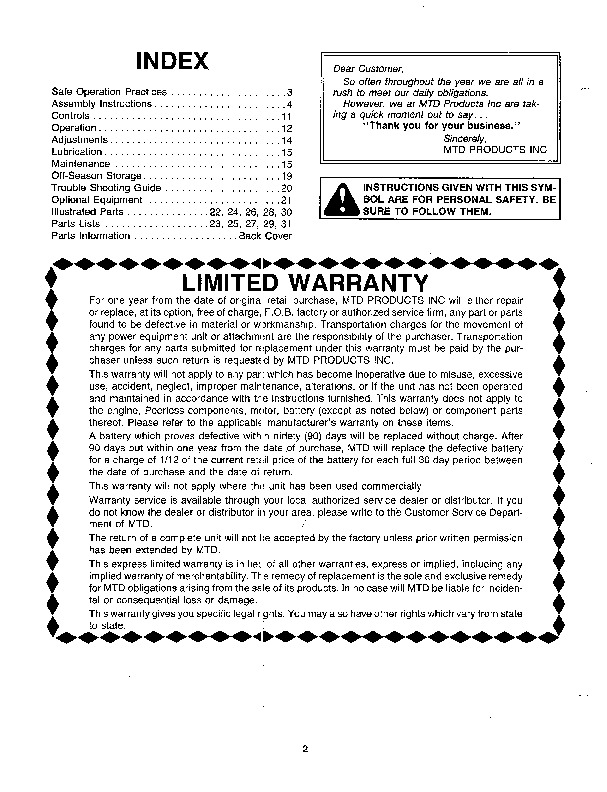 MTD 310-440 450 550 552 586 588 000 Snow Blower Owners Manual