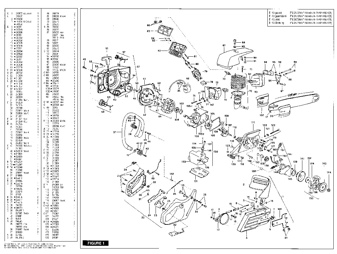 McCulloch Promac 40 60 Partner P461 Chainsaw Parts List