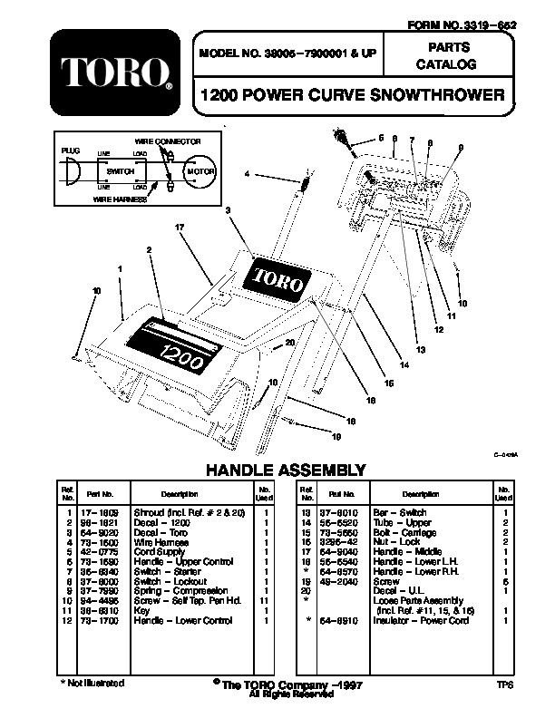 Toro 38005 1200 Power Curve Snowblower Manual, 1997-1999