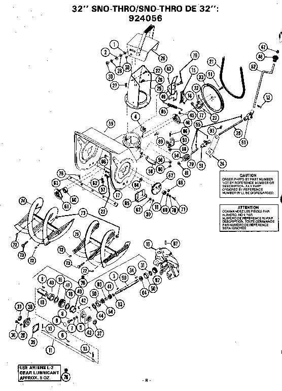 Ariens Sno Thro 924000 Series Snow Blower Parts Manual