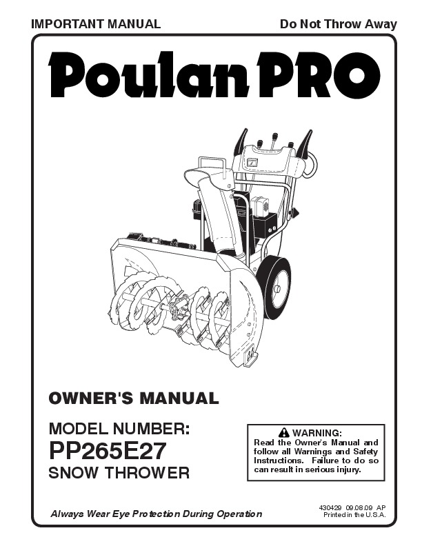 Poulan Pro PP265E27 430429 Snow Blower Owners Manual, 2009