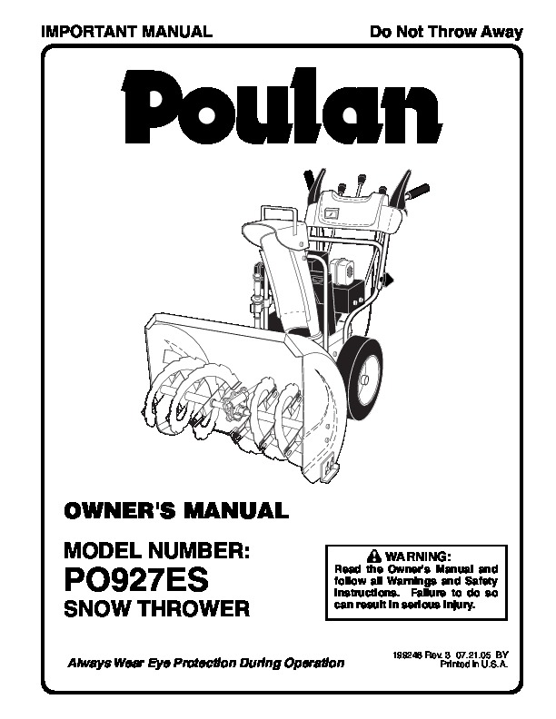 Poulan PO927ES 199248 Snow Blower Owners Manual, 2005