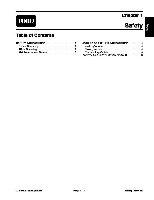 Toro 04127SL Rev C Service Manual Workman E2050 E2065