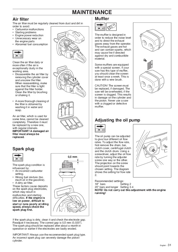 Husqvarna 288XP Lite Chainsaw Owners Owners Manual, 2001