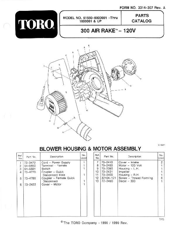 Toro 51580 300 Clean Sweep Manual, 1991
