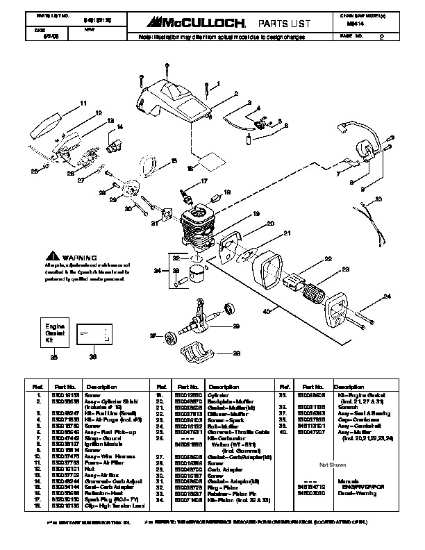 McCulloch M3414 Chainsaw Service Parts List