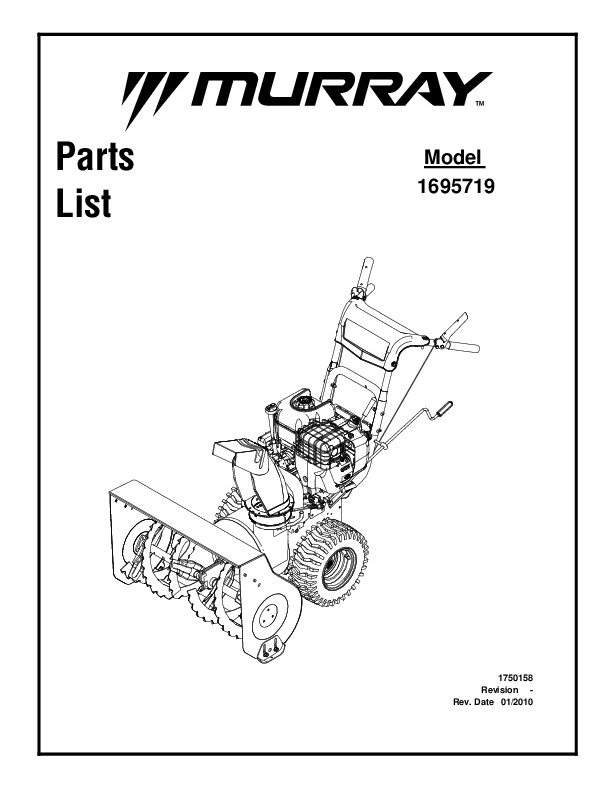 Murray Walk Behind 1695719 Snow Blower Parts Manual