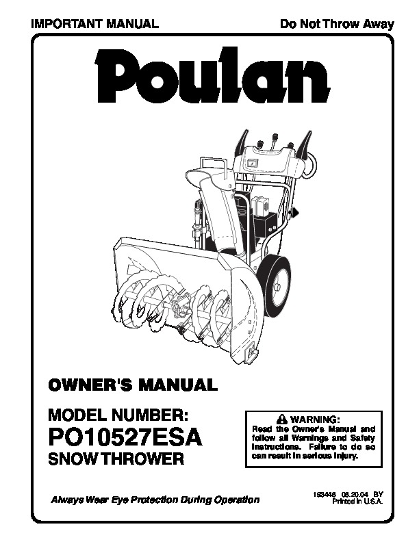 Poulan PO10527ESA 193448 Snow Blower Owners Manual, 2004