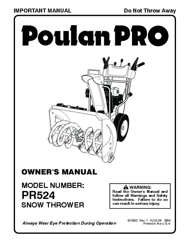 Poulan Pro PR524 421892 Snow Blower Owners Manual, 2008