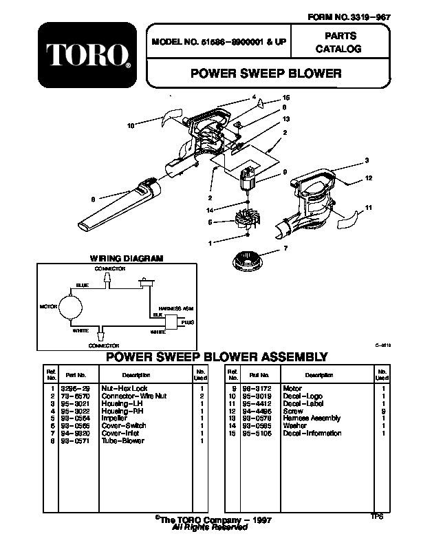 Toro 51586 Power Sweep Blower Manual, 1998-1999