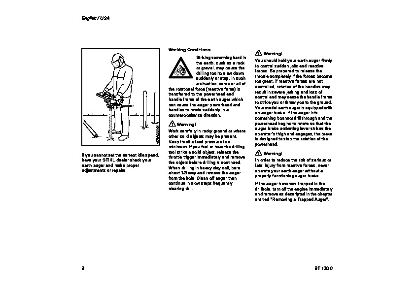 STIHL BT 120 C Auger Owners Manual