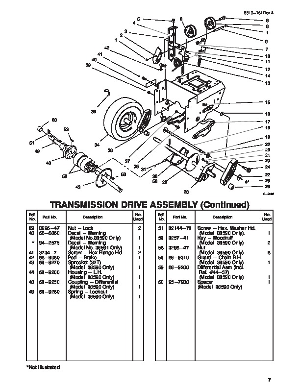 Toro Power Shift 38590 38591 1232 Snow Blower Parts Manual