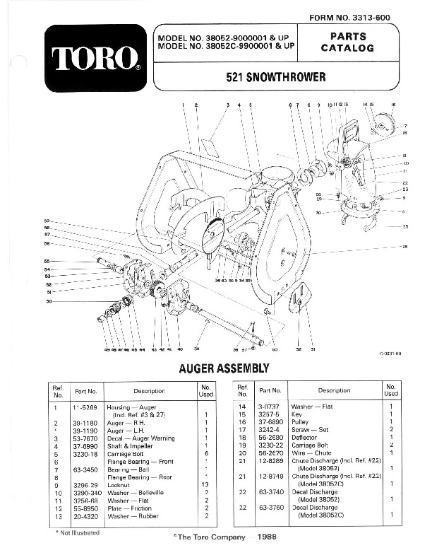Toro 38052C 521 Snowblower Manual, 1988