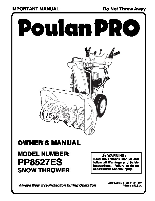 Poulan Pro PP8527ES 401214 Snow Blower Owners Manual, 2006