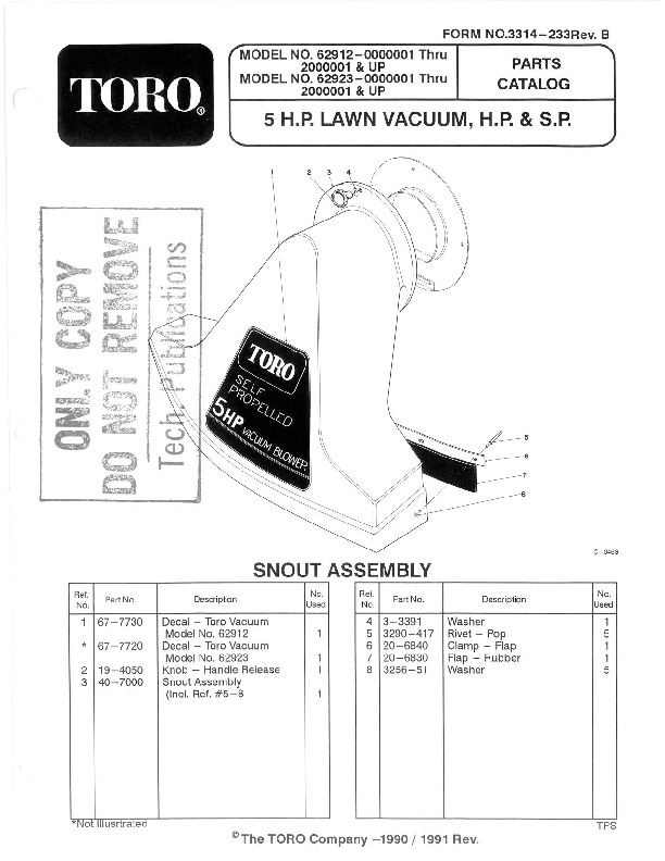 Toro 62923 5 hp Lawn Vacuum Manual, 1990