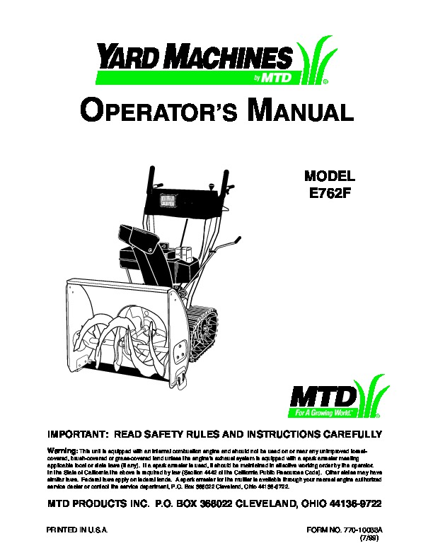 MTD Yard Machines E762F Snow Blower Owners Manual