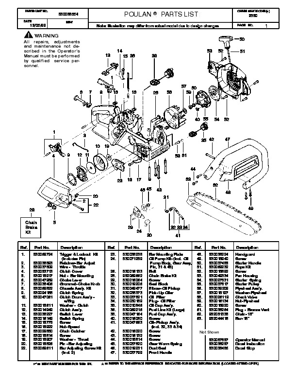 Poulan 2350 Chainsaw Parts List, 1999